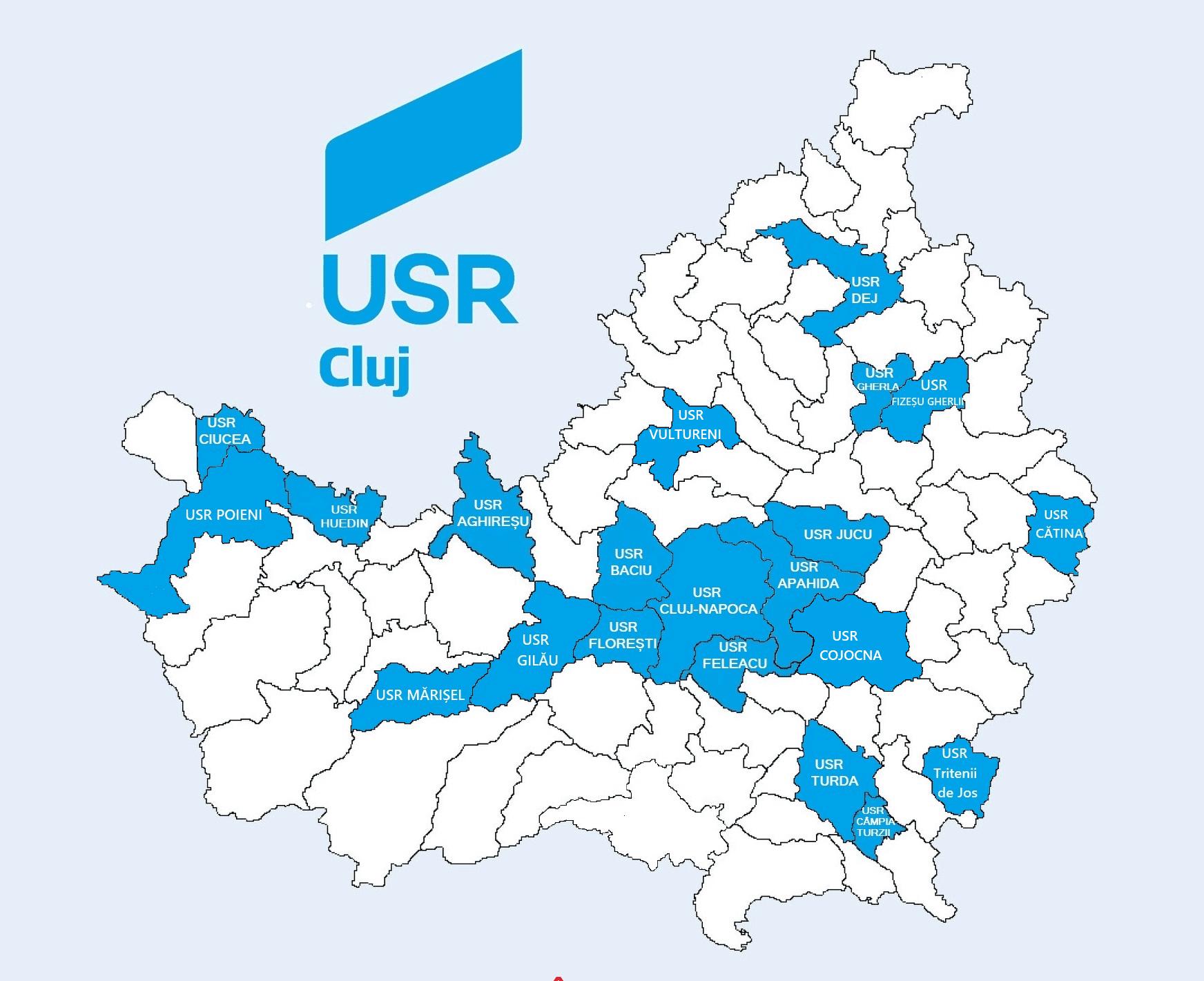 Harta filialelor USR Cluj